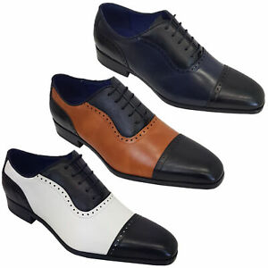 Mens Italian Style Shoes Brogue Formal Two Tone Lace Up Patent Casual Pointed