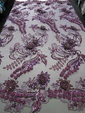 "Lavender Mesh w/ Embroidery Beaded Lace & Sequins Fabric -52"" - Sold by the Yard"
