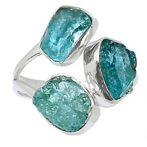 Aquamarine Rough - Stone Of Courage 925 Silver Ring Jewelry s.7 BR98422