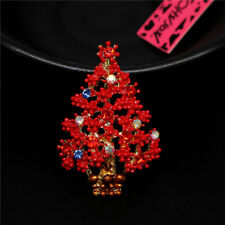 Charm Betsey Johnson Brooch Pin Colorful Crystal Red Enamel Christmas Tree