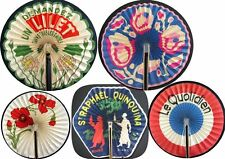 ANCIEN lot de 6 EVENTAIL EVENTAILS ART DECO 1930 - 1950 Publicitaire Fan