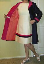 Vintage 60's Sheath Dress and Swing Coat Size M Ellarte Originals Color Block
