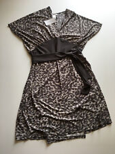Vertigo Paris Wrap Dress Drape Short Sleeves Persian Cat Print Gray Sz. L NWT