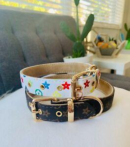 Designer Monogram Luxury dog pet collar large / Flower design dog collar