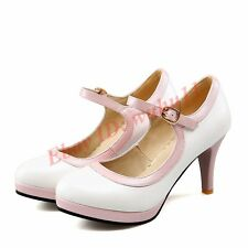 Fashion Womens Shoes Buckle Mary Janes Kitten Heel Ankle Strap Pumps Chic Lolita