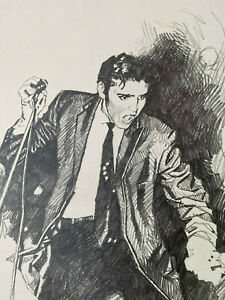 """Originalzeichnung Bleistiftzeichnung Elvis Presley von Jose """"Pepe"""" Gonzalez"""