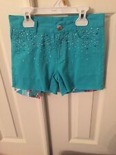 NWT - Girl's Flowers By Zoe By Korageous Kids Teal Green Studded Twill Shorts
