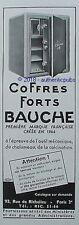 PUBLICITE BAUCHE COFFRES FORTS BLINDAGE MAISON SECURITE DE 1949 FRENCH AD PUB