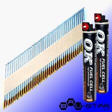 D-Kopf Streifennägel 2,8 x 63 gerillt verzinkt + 2 x Gas z.B. für Paslode IM350