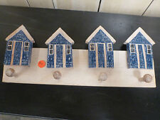 Balinese Wooden Coat Jewellery Hanger Blue Beach Houses Rustic Finish