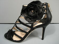 JIMMY CHOO OPAQUE BLACK LEATHER FLOWER LATTICE CAGED SANDALS HEELS 36/5.5 NEW
