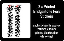 2 x Printed Bridgestone Fork Stickers / Decals / Graphics - FREE P&P
