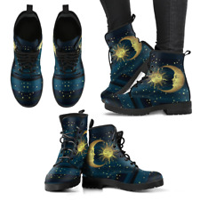 Sun and Moon Blue and Black Handcrafted Women's Vegan-Friendly Leather Boots