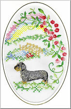 Wire Haired Dachshund Rainbow Bridge Card Embroidered by Dogmania