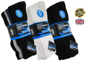 New 5 Pair Men's Plain Classic Sports Socks Cotton Rich Thick Black White 6-11