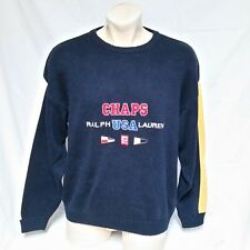 VTG Chaps Ralph Lauren Sweater USA Flag Spell Out Knit Air Sailing Ski 90s Large