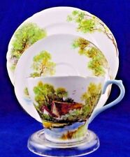 SHELLEY OLD MILL 13669 TEACUP & SAUCER TRIO