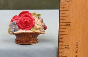 LADY BUG on FLOWER BASKET Celluloid TAPE MEASURE, Antique German Sewing Item