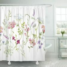Pink Purple Green White Watercolor Farmhouse Floral Victorian Shower Curtain