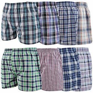 New Mens Woven Boxer Shorts Check Print Cotton Underwear Adults Briefs UK S-2XL