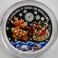 Canada 2018 $20 Holiday Reindeer 1 oz. Pure Silver Coin, Murano Glass Element