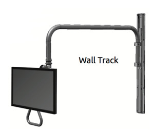 Healthcare/Dental Office - Monitor+Overhead Arm Monitor Mount w/ Wall TRACK -ICW