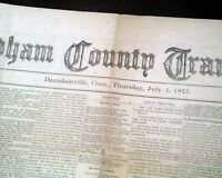 Rare DANIELSON (Killingly) Windham County CT Connecticut w/ Ads 1875 Newspaper