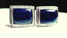 New 925 Sterling Silver Natural Blue Sapphire & Cubic zerconia Cuff-link