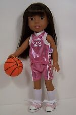 Pink Basketball Uniform &Ball Doll Clothes For Ag 14 Wellie Wisher Wishers (Debs