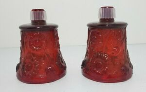 Vintage Red Pair Of Glass Daisy Flowers Votive Candle Peg Cup Holder