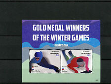 St Vincent & Grenadines 2014 MNH Gold Medal Winners Winter Games 2v S/S Olympics