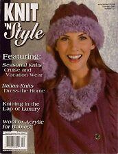 Knit n Style February 2003 Jacket Hat Shawl Sweaters Machine Knitting Patterns