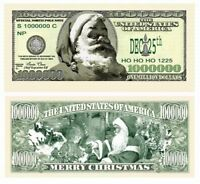 (10) ONE MILLION DOLLAR BILLS ~ Christmas Santa Clause Novelty Play Gift Money