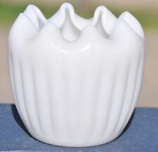 Vintage Fenton White Milk Glass Rose Bowl Opalescent Ribbed Vase