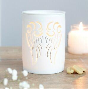 White Ceramic Angel Wings Oil Wax Melt Burner 12cm