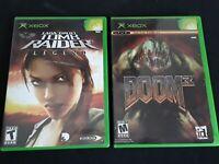 2 Games Doom 3 & Lara Croft Tomb Raider Legend Bundle Lot for Original Xbox