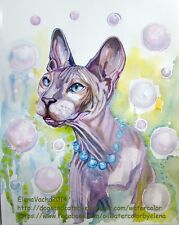 Adorable Hairless Cat Sphynx Original watercolor painting pet Art kitty animals