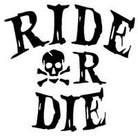 Ride or Die Aufkleber Sticker Motorrad Fahrrad schwarz Motocross Totenkopf Cross