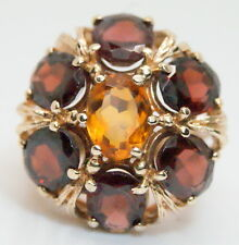 Gorgeous 14K Yellow Gold 8.75 TCW Garnet & Citrine Cocktail Ring 8+ Carats!