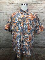 Vintage ORVIS Multicolor Floral Mens Button Front Cotton Short Sleeve Shirt XL