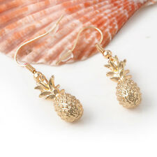 Women Charming Gold Metal Pineapple Fruit Charm Drop  Dangle Earrings Gift