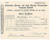 TASMANIA • 1921 • Scrip for 20 shares • TASMANIAN PRODUCE and COOL STORAGE CO-OP