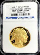 2008 W GOLD $50 PROOF BUFFALO 1 OZ COIN NGC PF 69 UC BLUE EARLY RELEASES