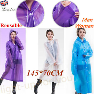 Large Adults Men Women Raincoat Clear Transparent Reusable Poncho Quality in UK