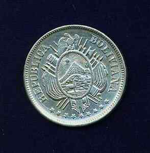 BOLIVIA   1873-PTS  50 CENTAVOS  SILVER  COIN  ALMOST UNCIRCULATED++