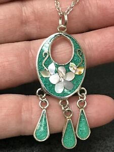 Native American Daisy Abalone Green Turquoise Vintage Pendant Silver D-2473R