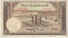 State Bank of Pakistan 1949-1953 ND Issue 10 Rupees Pick #13 Foreign Banknote