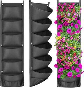 Hanging Garden Wall Planter 7 Vertical Flower Planting Bag Multi Vase Black Grow