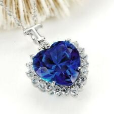Platinum White Gold Plated Titanic Heart of the Ocean Blue Sapphire Necklace