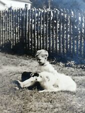 Vintage big Photo boy with American Eskimo dog Spitz Samoyed house w fence
